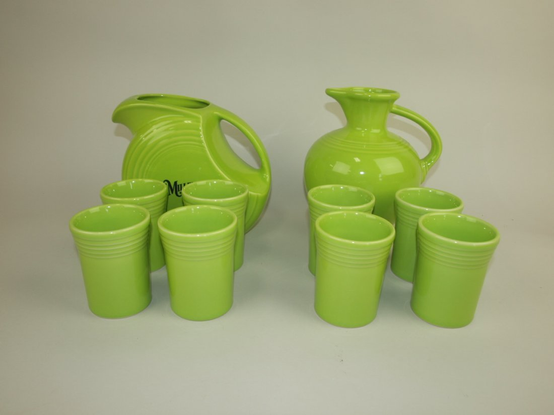 Fiesta Post 86 disk water pitcher & carafe, each with 4