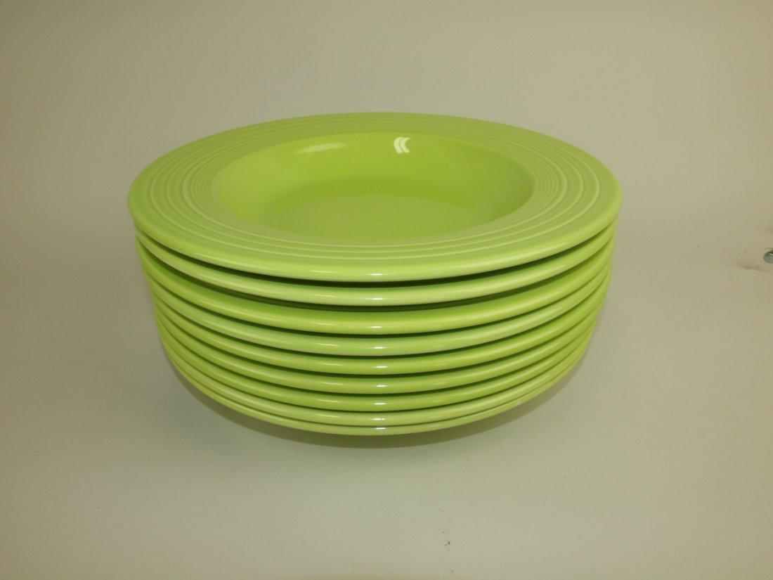 "Fiesta Post 86 chartreuse lot of 9 pasta bowls, 12"""