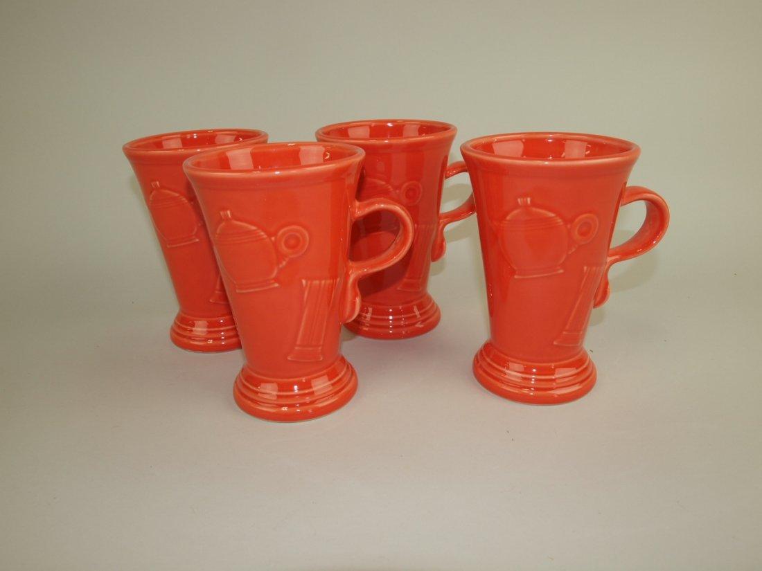 Fiesta Post 86 persimmon set of 4 pedestal mugs