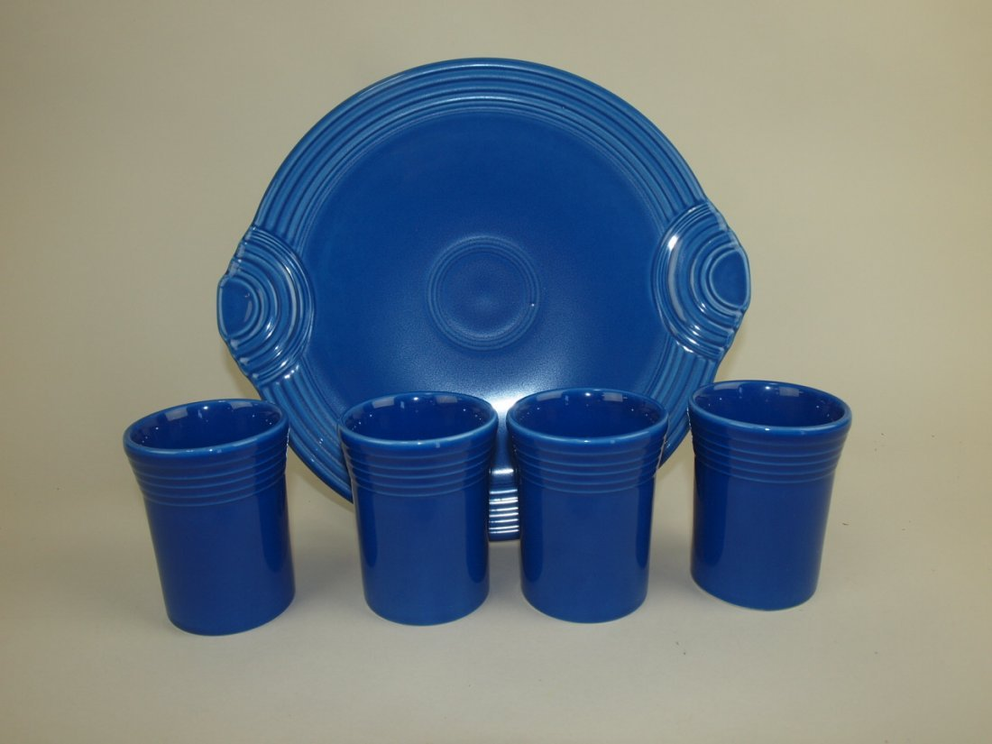 Fiesta Post 86 sapphire serving tray and 4 tumblers