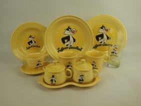 """Fiesta Post 86 Looney Tunes """"sylvester"""" Lot Of 8 Pieces"""