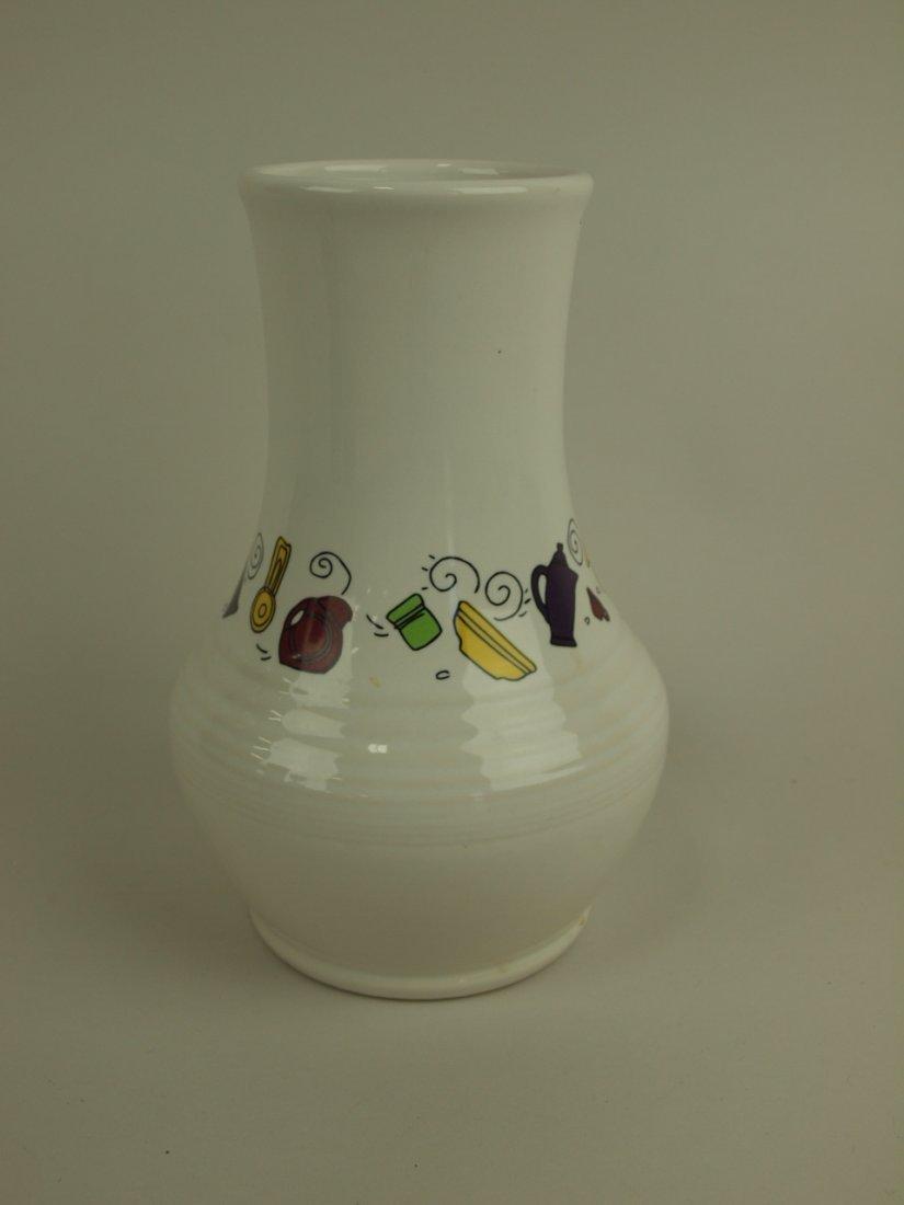 Fiesta Post 86 white monarch vase with Fiesta dishes