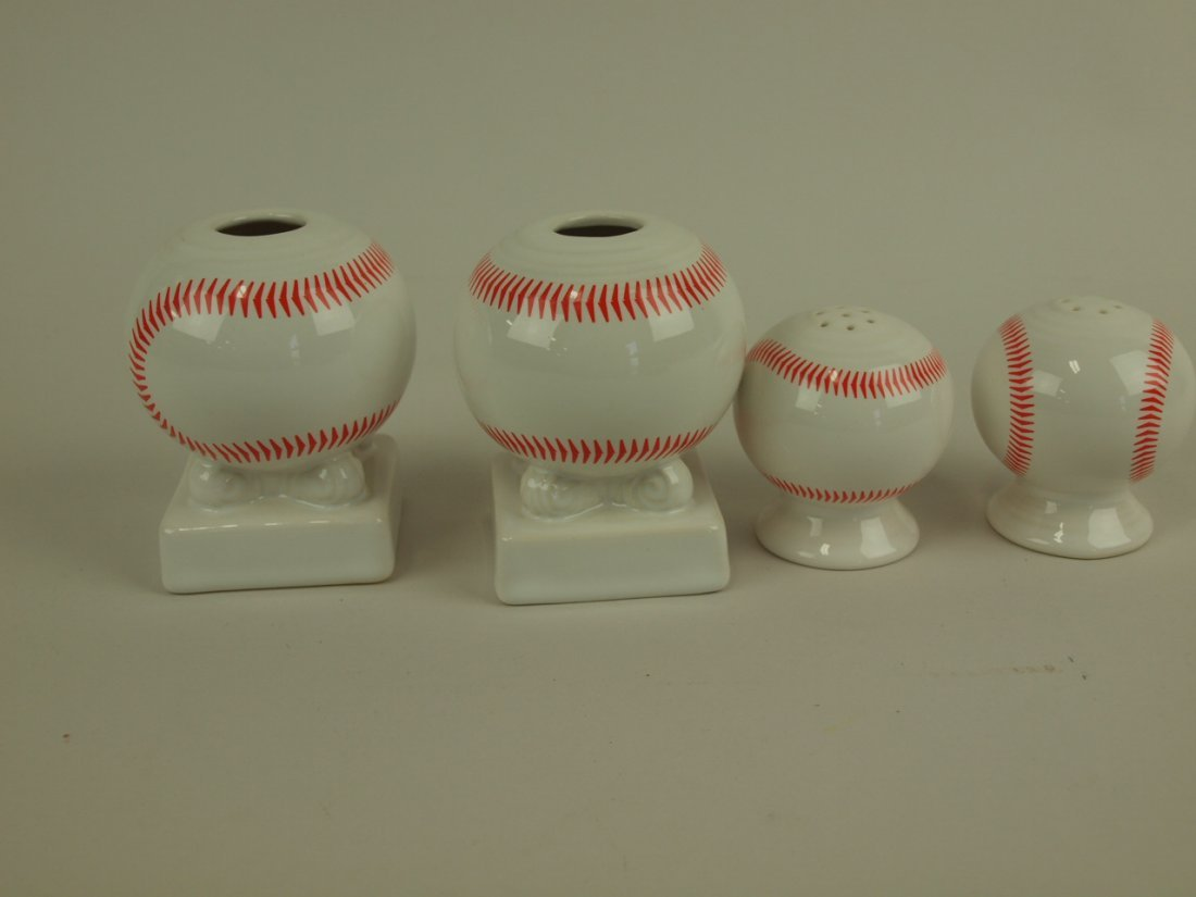 Fiesta Post 86 baseball pair of round candle sticks and