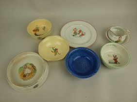 Homer Laughlin Lot Of 8 Childrens Dishes, Various