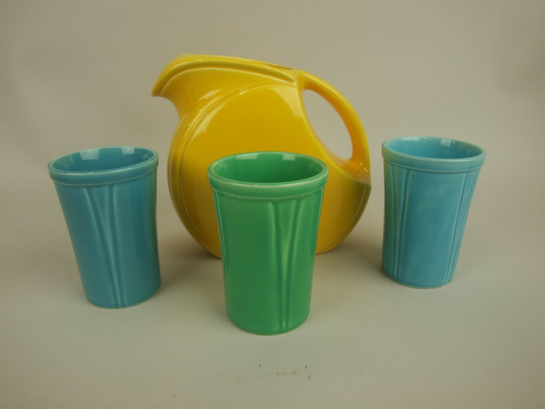 Riviera yellow juice pitcher, 2 turquoise, & 1 green
