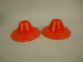 Fiesta Hrlequin Red Pair Candle Holders