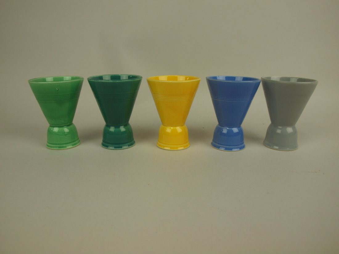 Fiesta Harlequin double egg cup group of 5