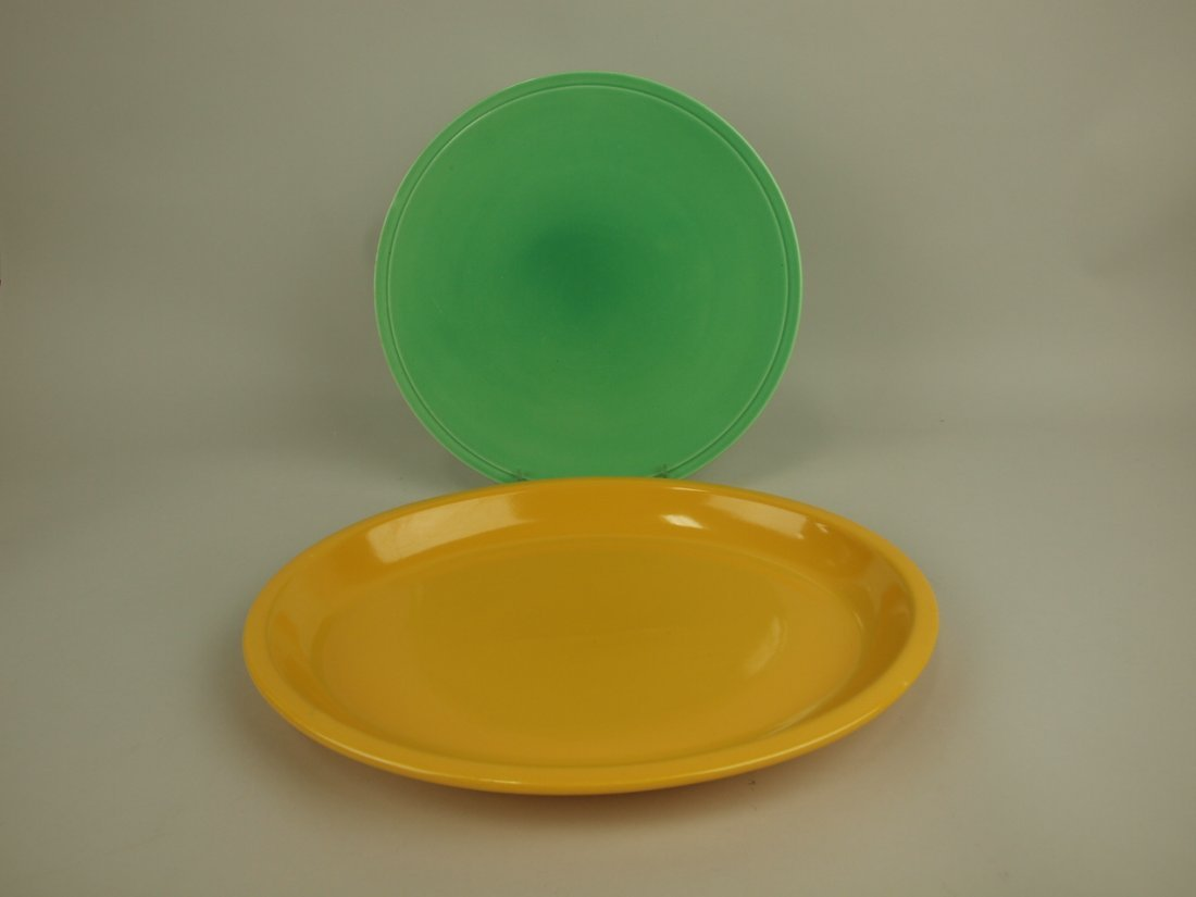 Fiesta Kitchen Kraft gren cake plate and yellow platter
