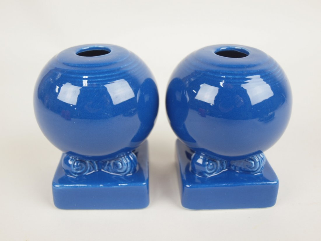 Fiesta pair bulb candle holders, cobalt
