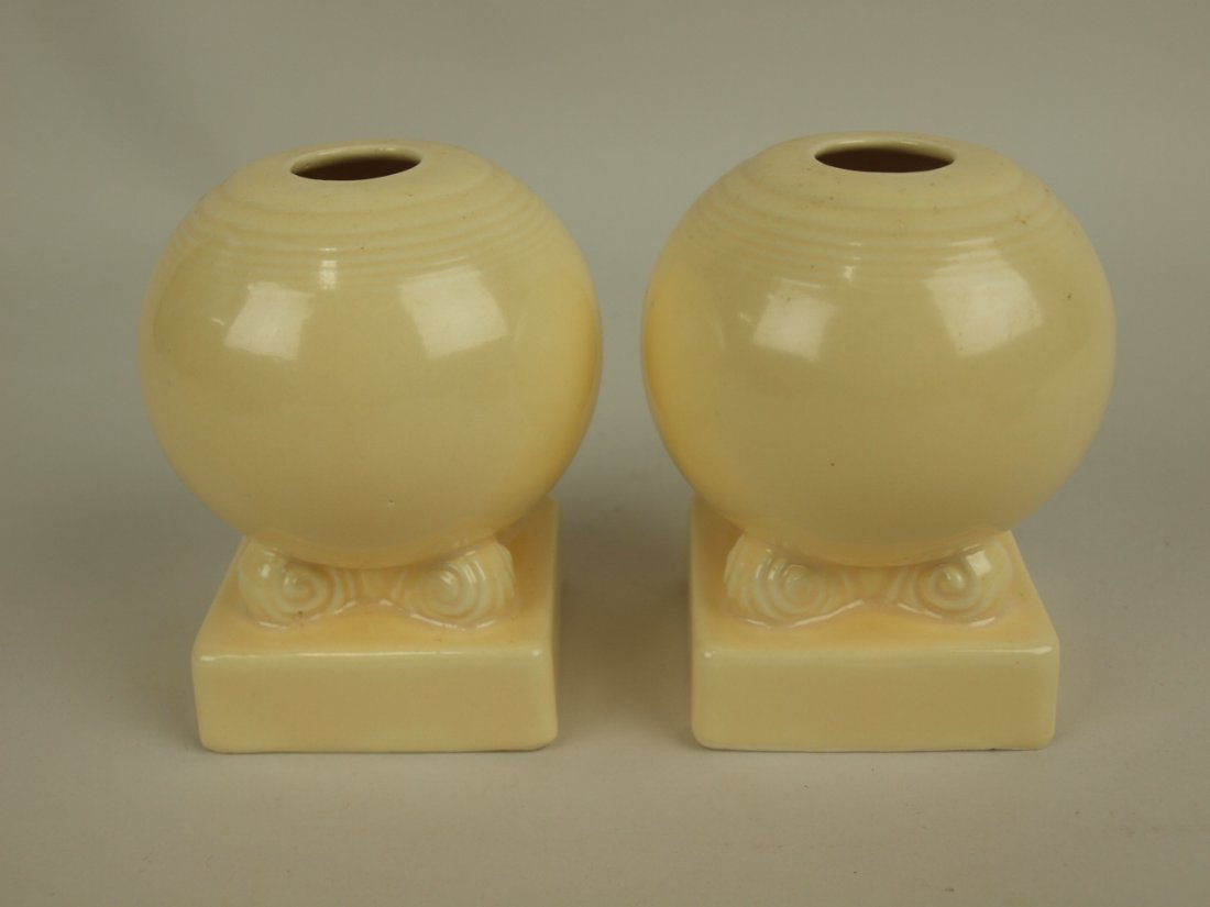 Fiesta pair bulb candle holders, ivory