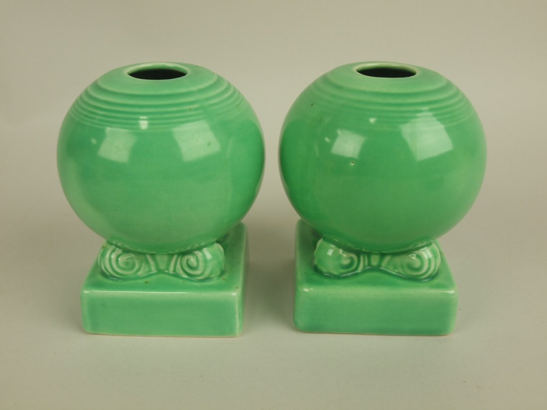 Fiesta pair bulb candle holders, green