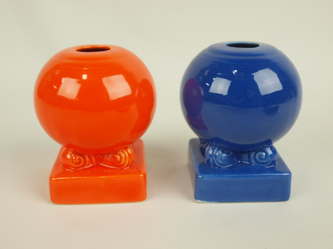 Fiesta single bulb candle holders: red & cobalt