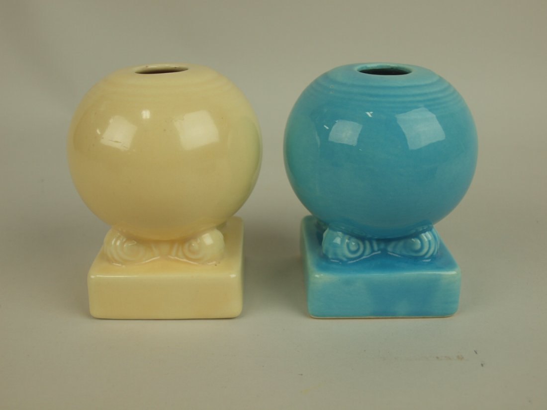 Fiesta single candle holders: ivory & turquoise