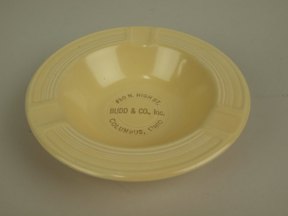 """Fiesta ashtray, ivory with advertising """"Budd & Co, Inc,"""