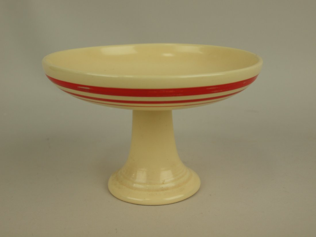 Fiesta sweets compote RARE ivory with red stripe,