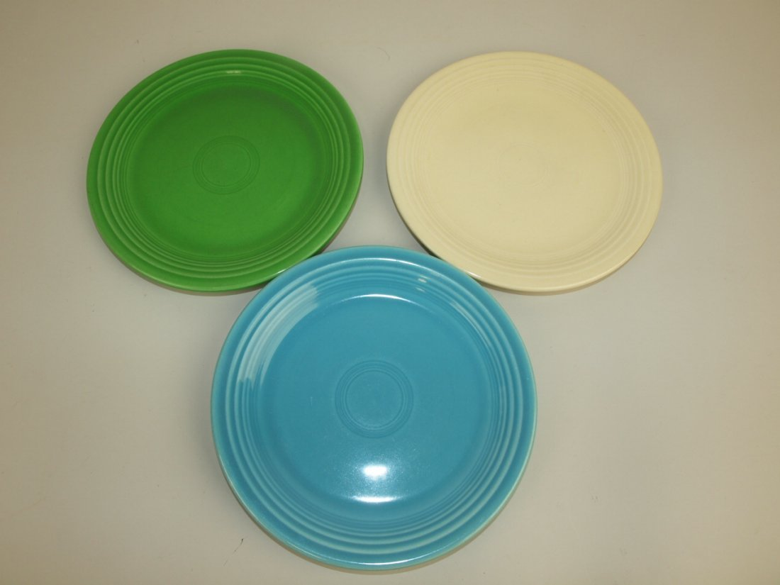 "Fiesta 7"" plate group, 3 mixed colors"