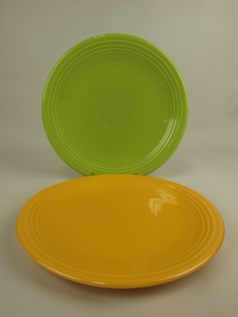 "Fiesta 13"" chop plates, chartreuse & yellow"