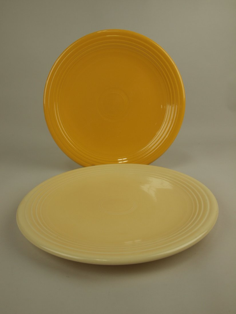 "Fiesta 13"" chop plates, ivory & yellow"