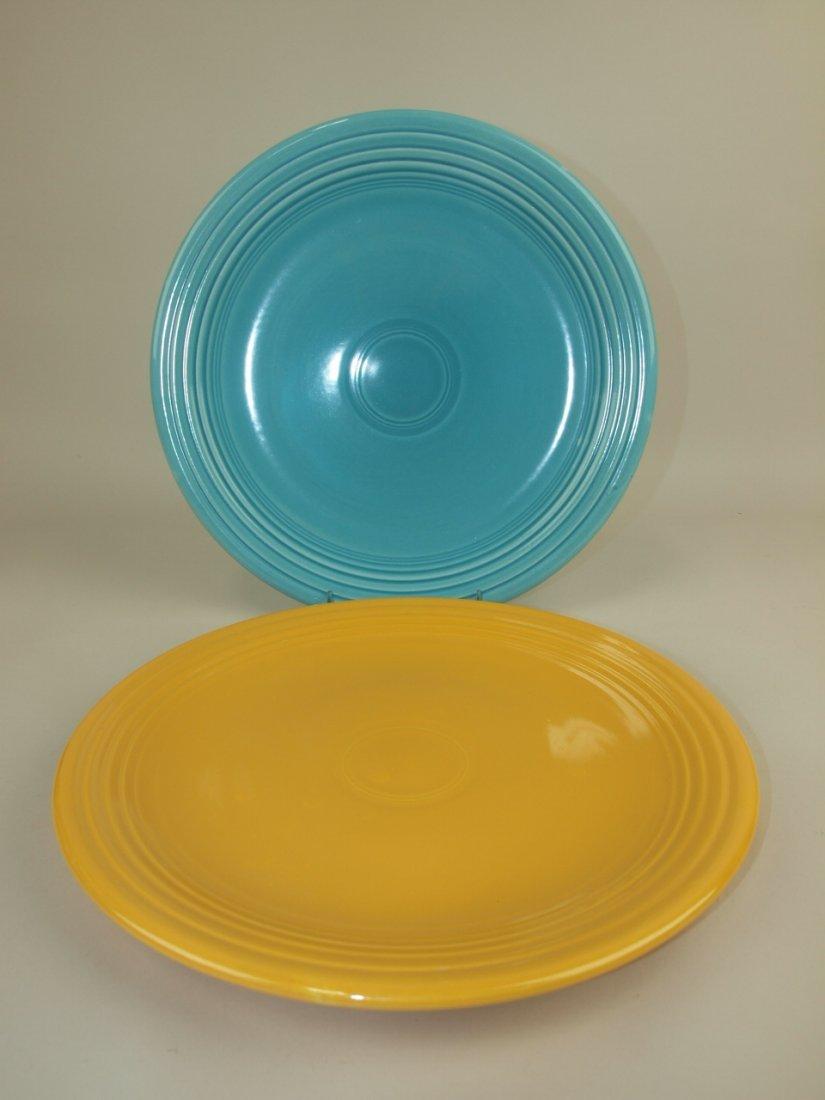 "Fiesta 13"" chop plates, turquoise & yellow"