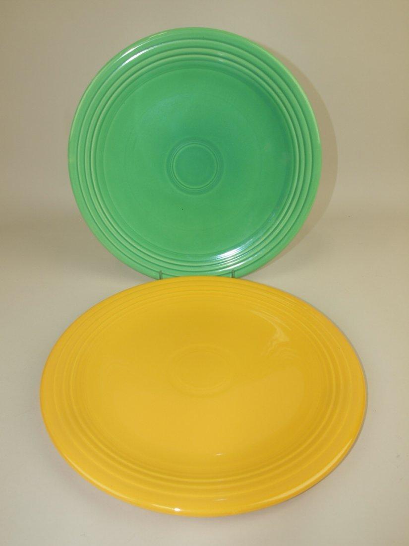 "Fiesta 13"" chop plates, green & yellow"