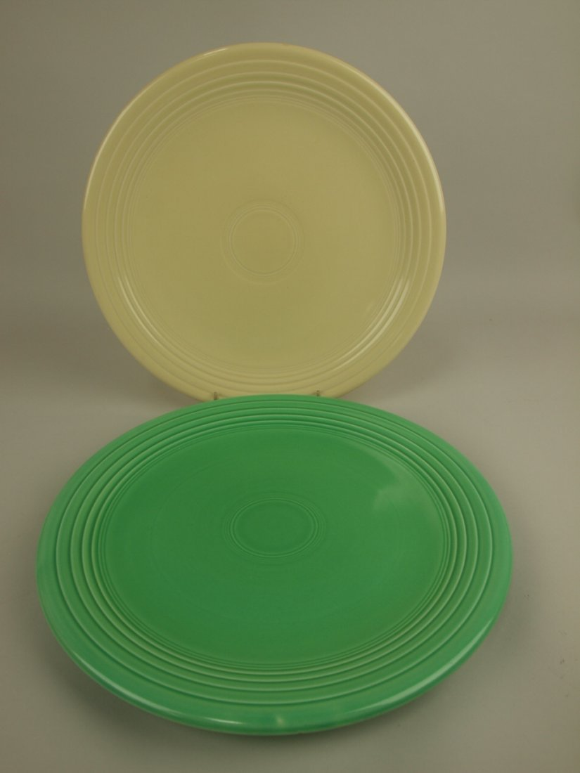"Fiesta 13"" chop plates, ivory & green"