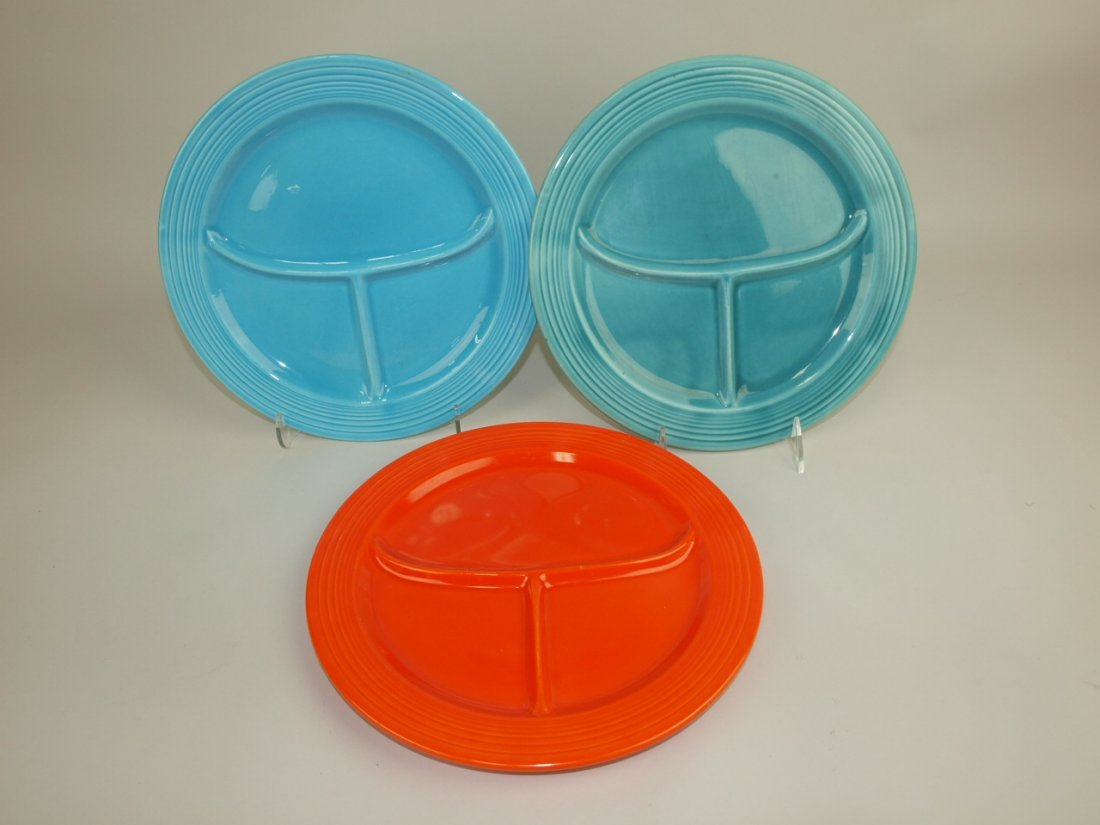 "Fiesta 10 1/2"" compartment plate group: 2-turquoise, 1"