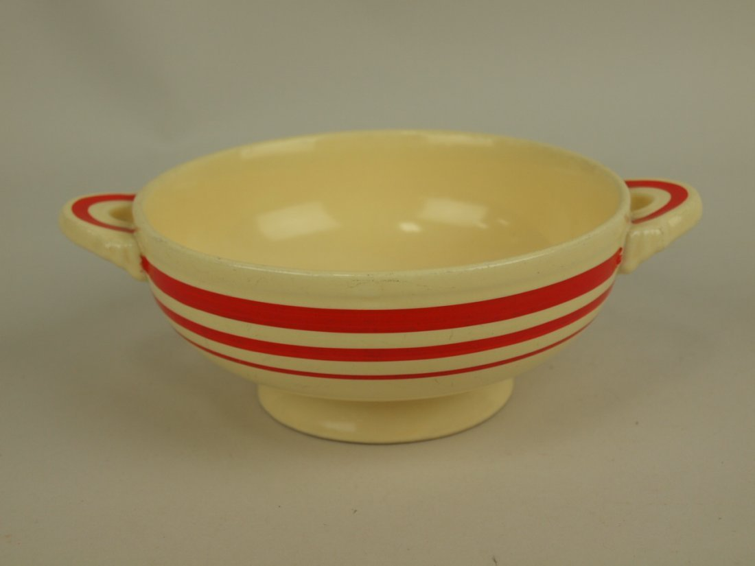 Fiesta cream soup RARE ivory with red stripe