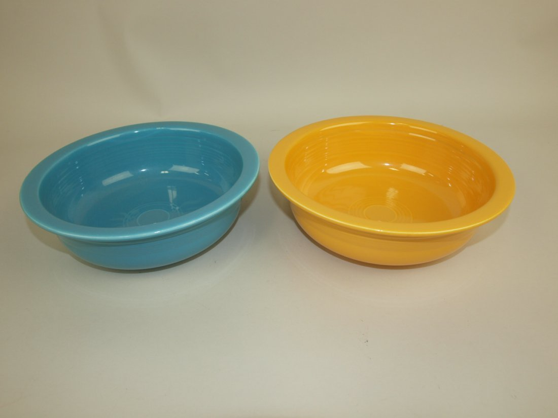 """Fiesta 8 1/2"""" nappy bowl group: turquoise & yellow"""