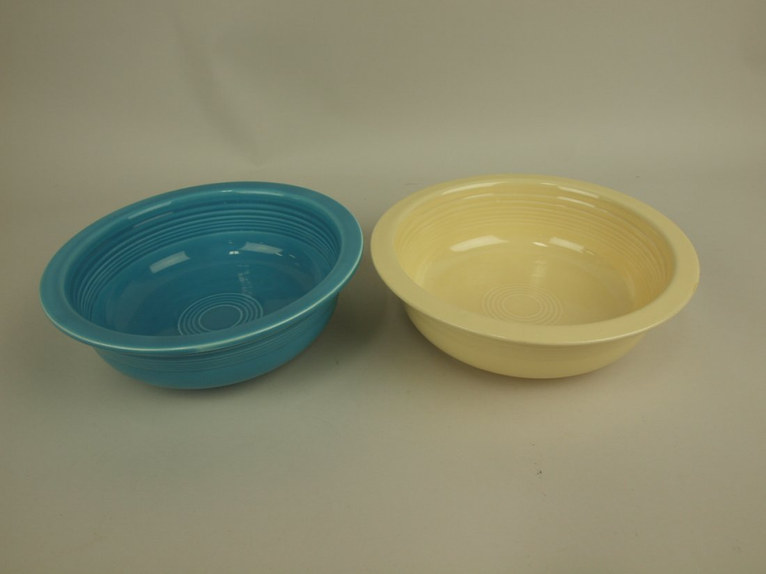 """Fiesta 8 1/2"""" nappy bowl group: turquoise & ivory"""