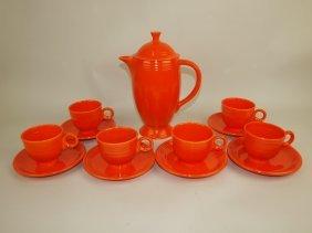 Fiesta Coffee Service: Red Coffee Pot, 6 Cups &