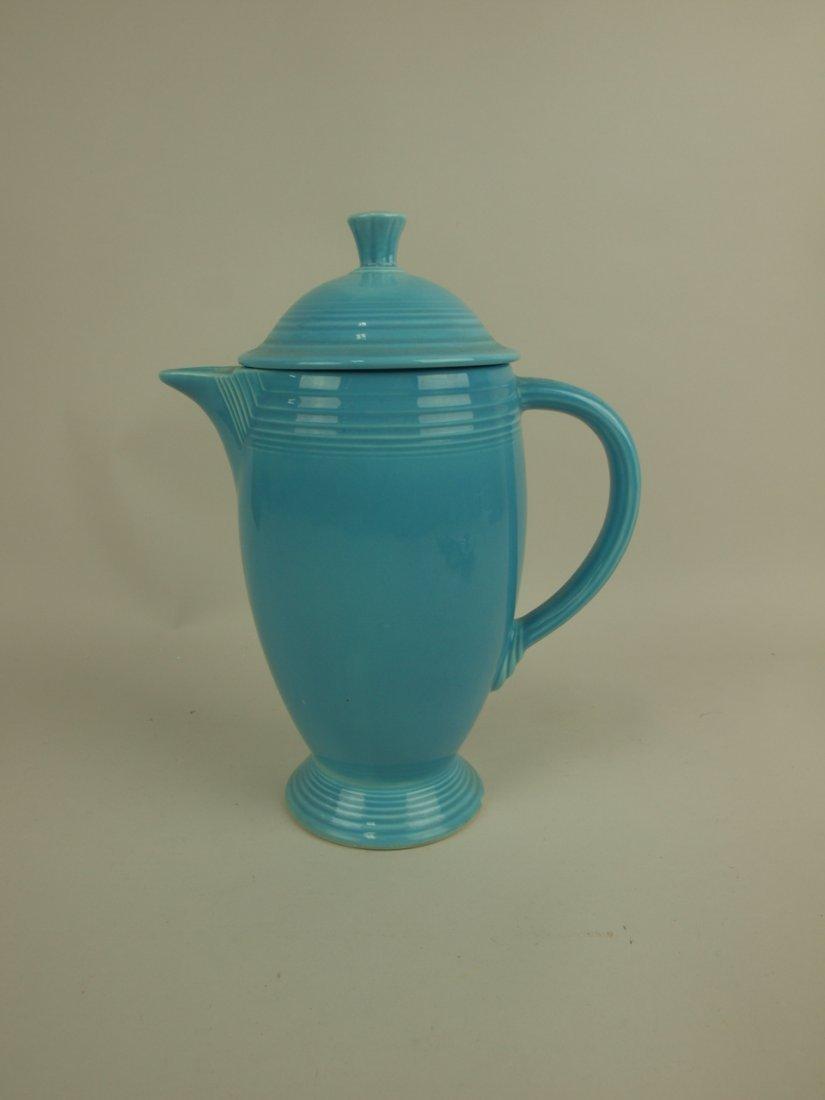 Fiesta Coffee pot, turquoise, nick to base