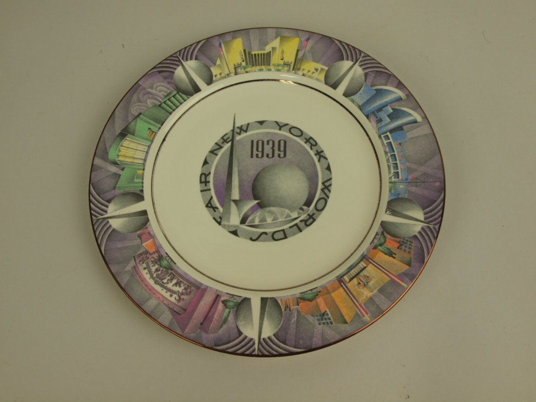 1939 New York World's Fair souvenir plate with gold