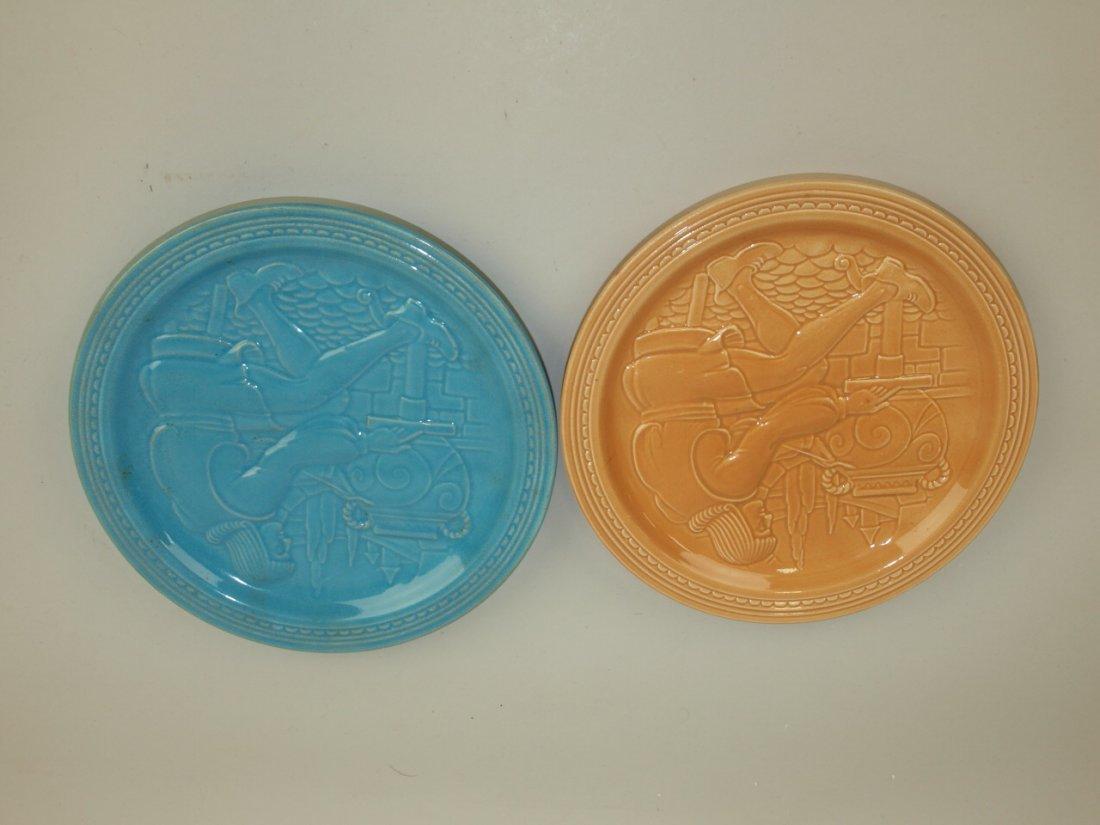 Fiesta World's Fair potter plates: 1 mocha, 1 turquoise