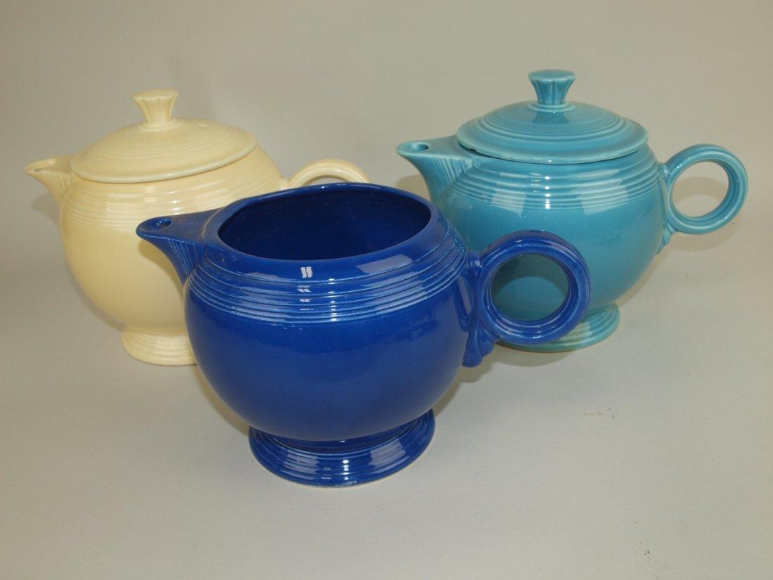 Fiesta large teapot group: ivory, turquoise (nicks),