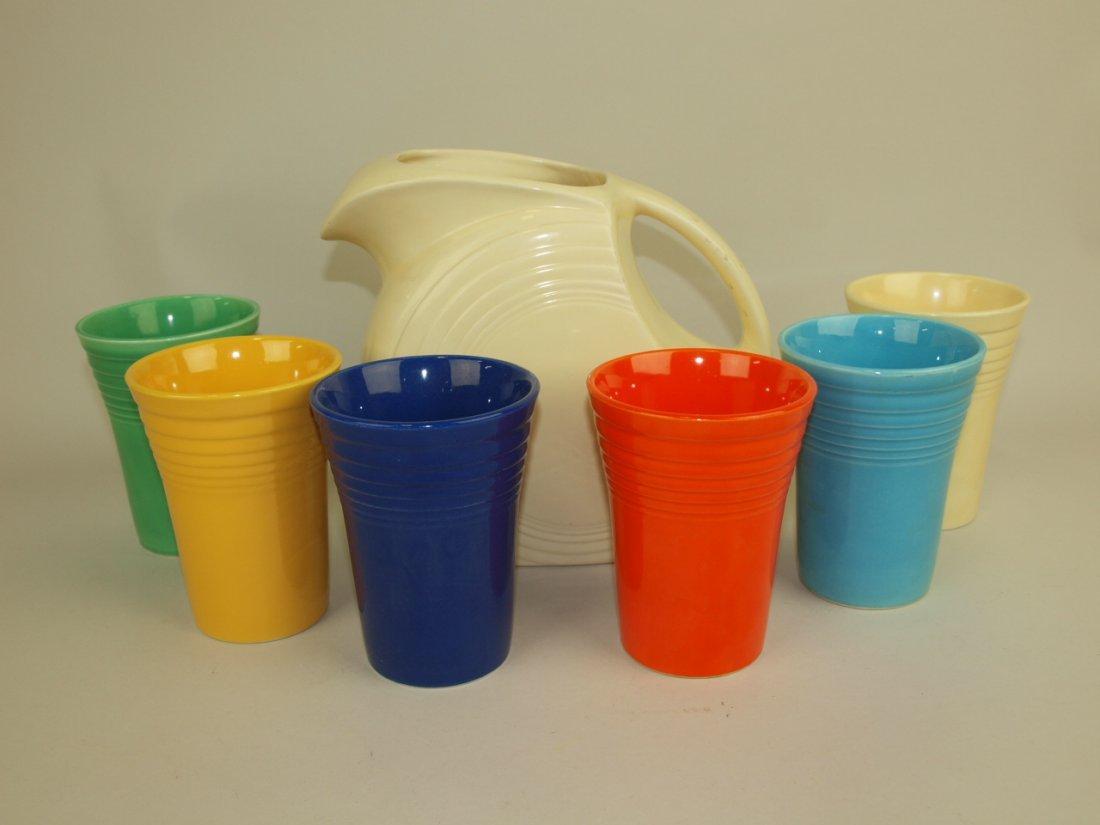 Fiesta 7 piece water set, ivory disk pitcher & 6
