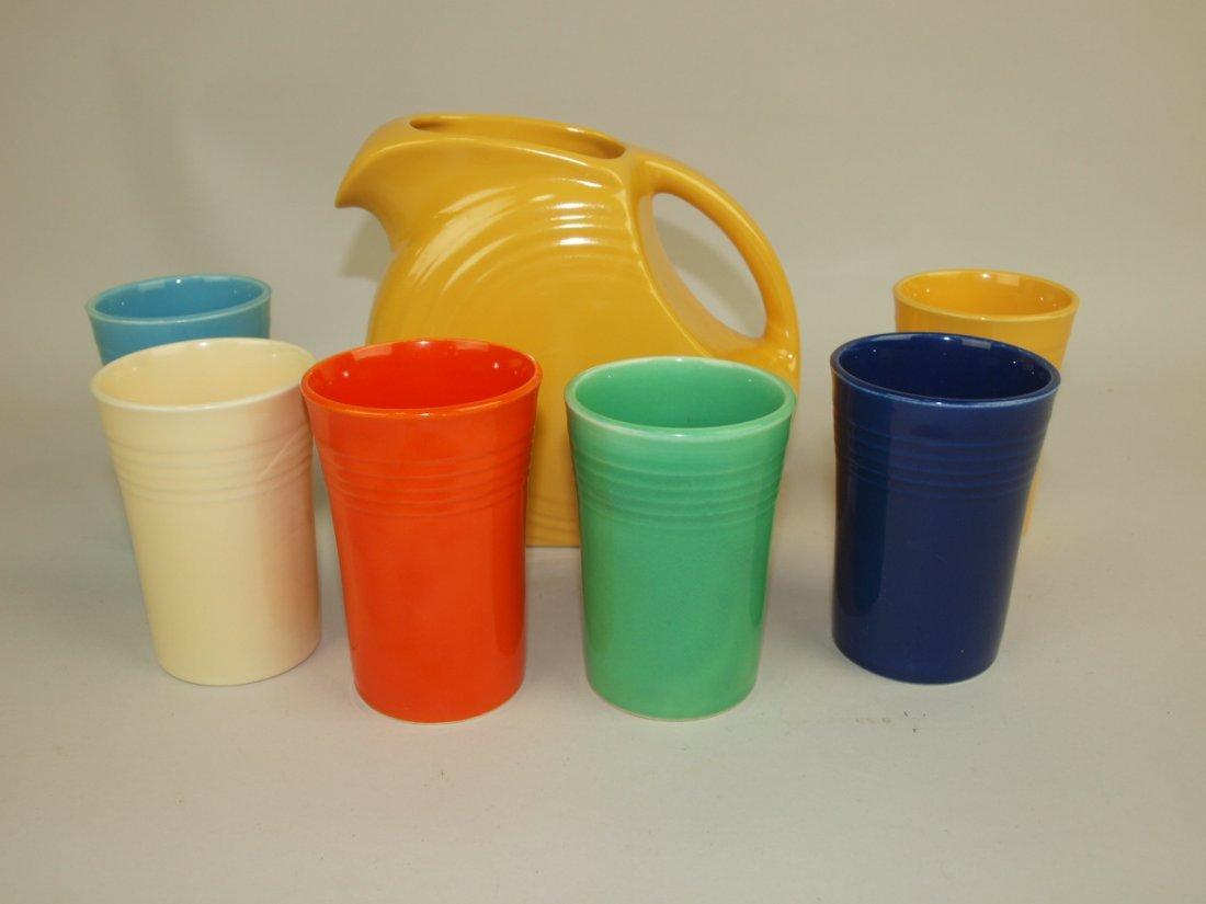 Fiesta 7 piece juice set: yellow disk juice pitcher & 6