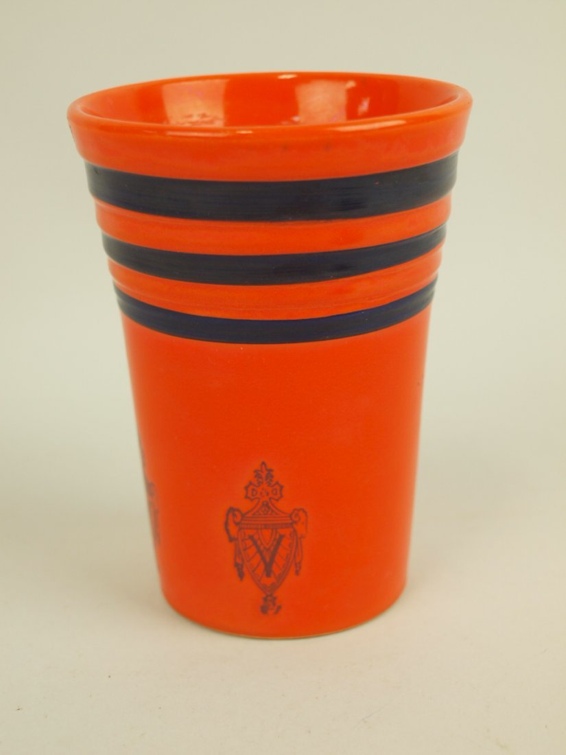 """Fiesta RARE red water tumbler with blue stripes and """"V"""""""