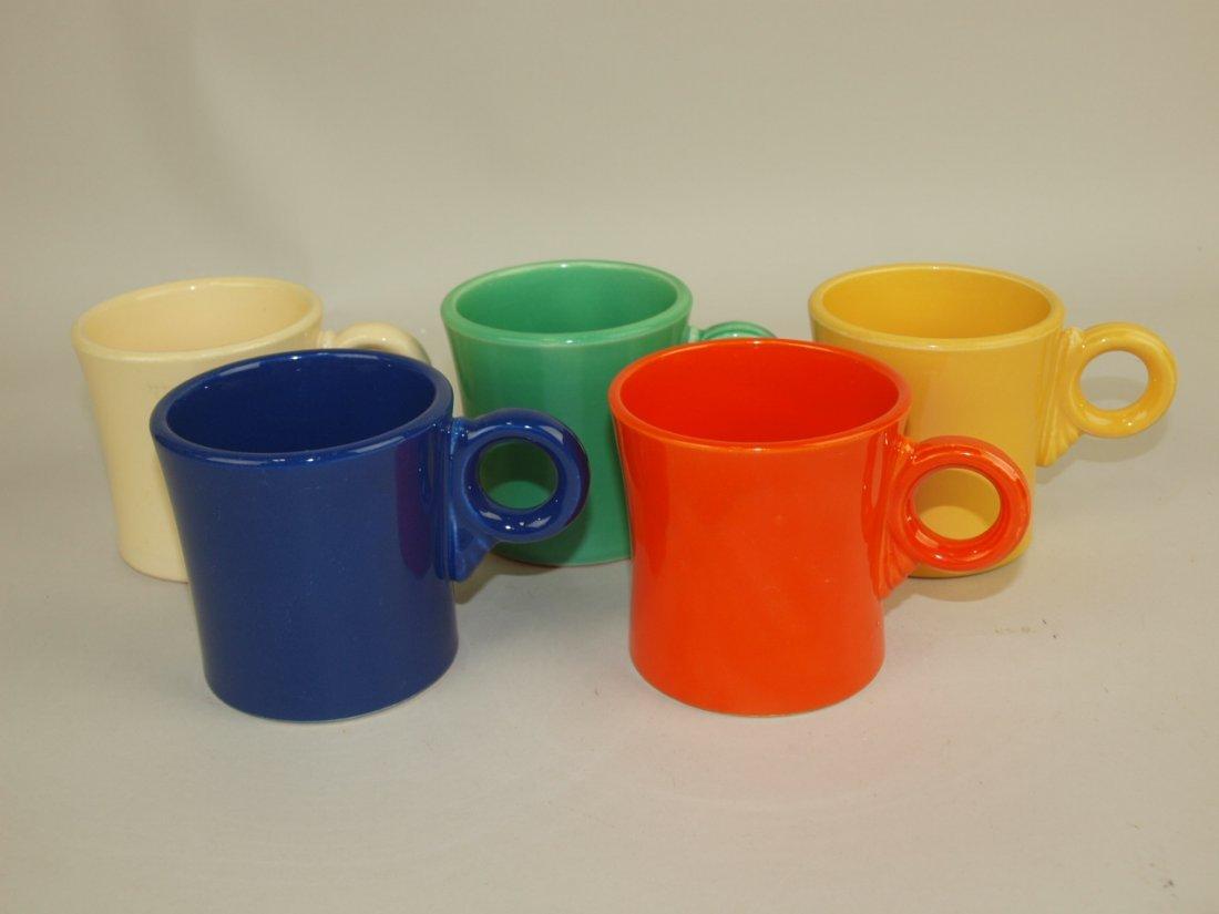 Fiesta mug group: red, cobalt, ivory, green, & yellow