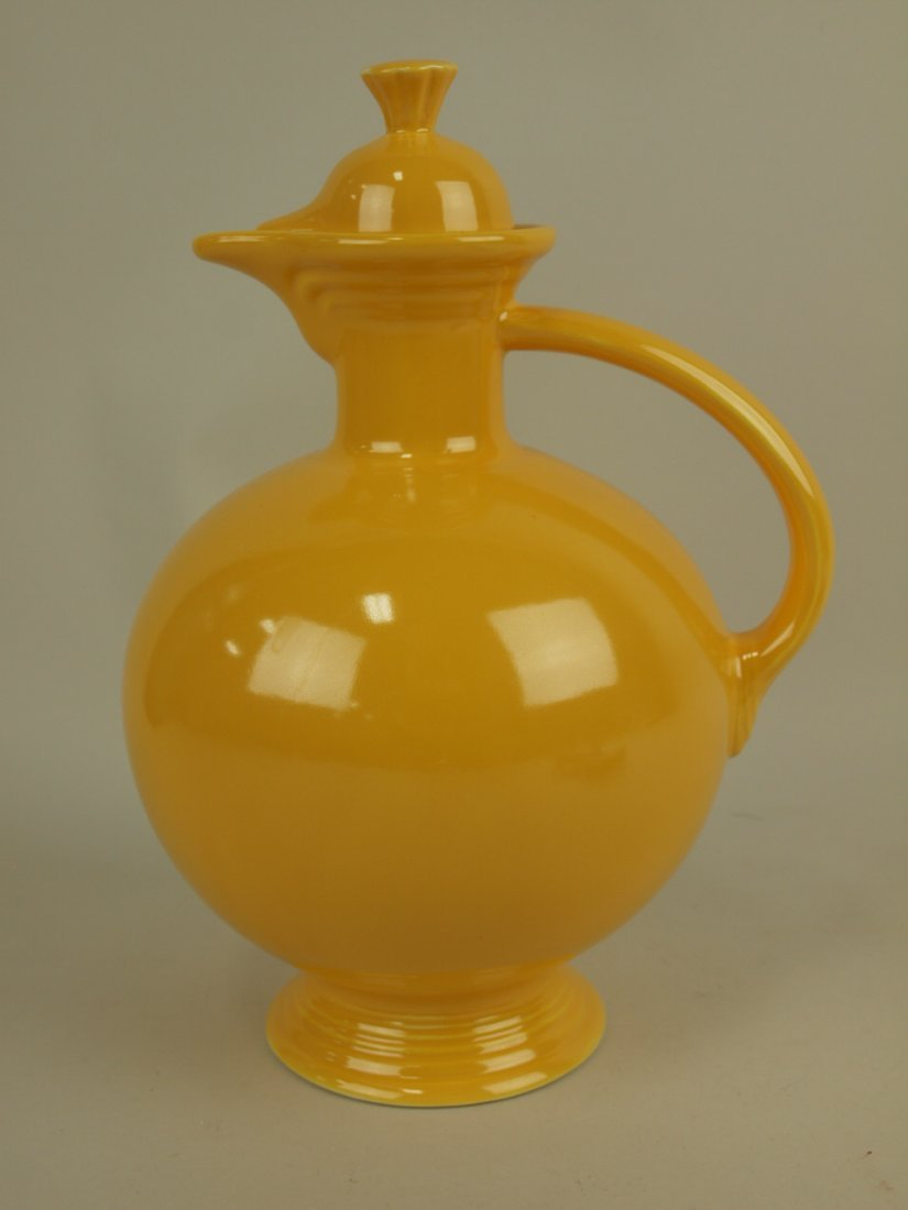 Fiesta water carafe, yellow, repair to finial
