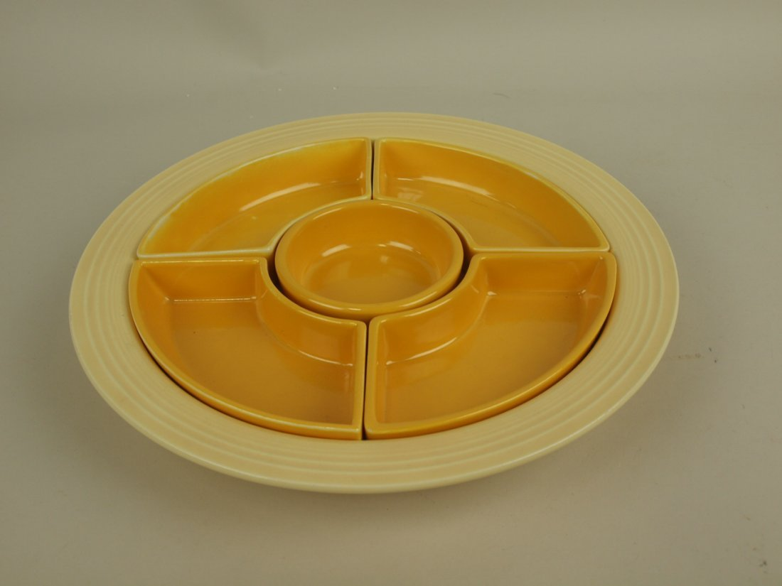 Fiesta relish tray, ivory tray, all yellow inserts