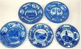 Blue & white Staffordshire lot of 5 historical plates: