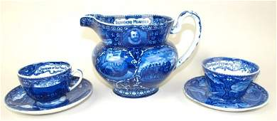 """Blue & white historical Staffordshire pitcher """"American"""