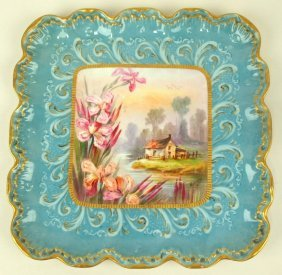 French Limoges square dresser tray with cottage scene,