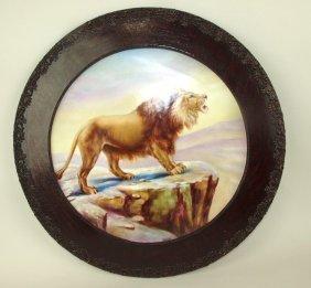 """Limoges France Painting On Porcelain 16"""" Oak Framed"""