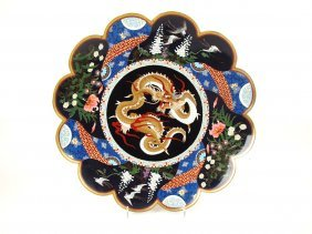 Cloisonne' large charger with dragon and scalloppe