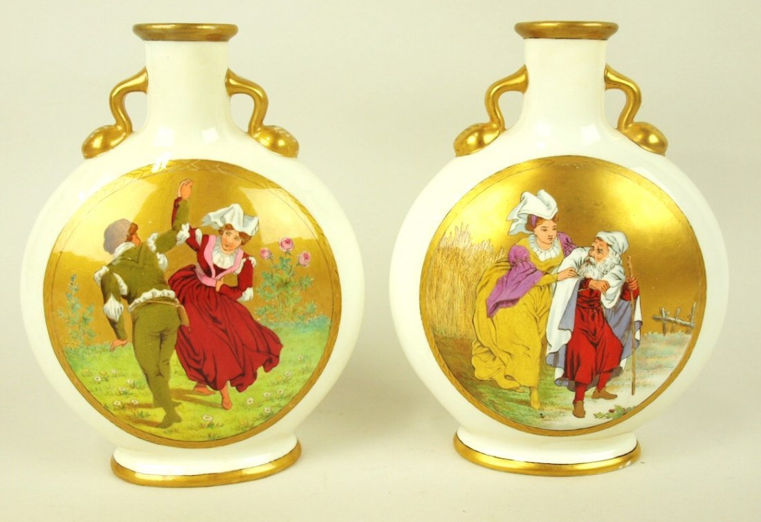 Minton very RARE pair of porcelain Moonflasks decorated