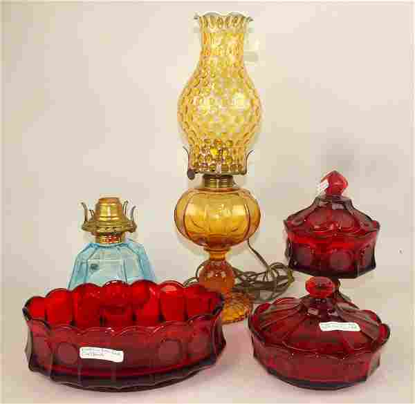 Fostoria coin: blue oil lamp base, amber oil lamp with