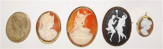 Lot of 5 ladies antique cameo brooches & pendants