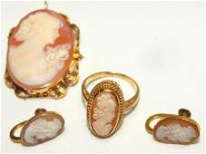 Ladies 10 kt yg cameo broochpendant ring and pair of