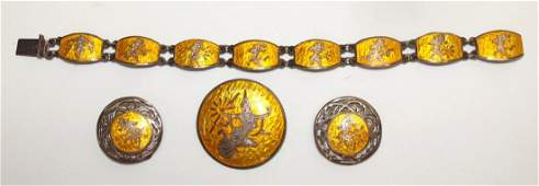 Siam sterling silver antique enameled ladies bracelet